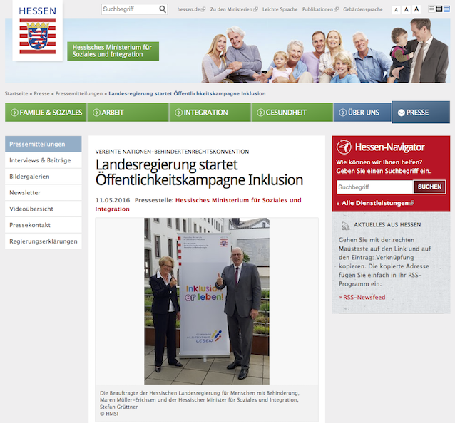 Screenshot: Öffentlichkeitskampagne Inklusion