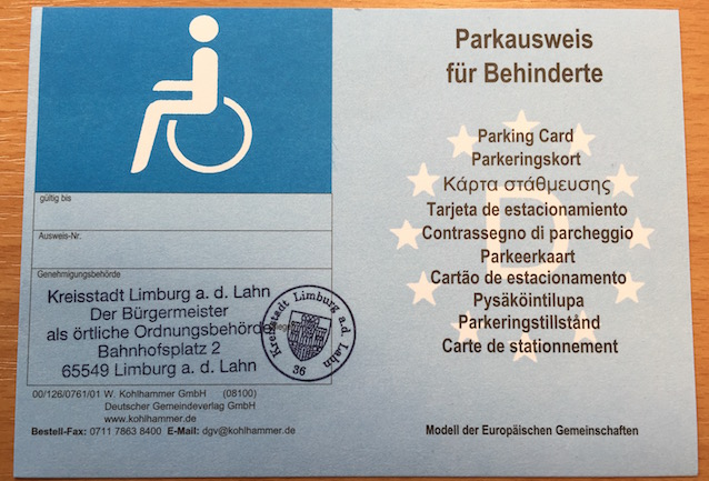 Foto: EU Parkausweis in Blau