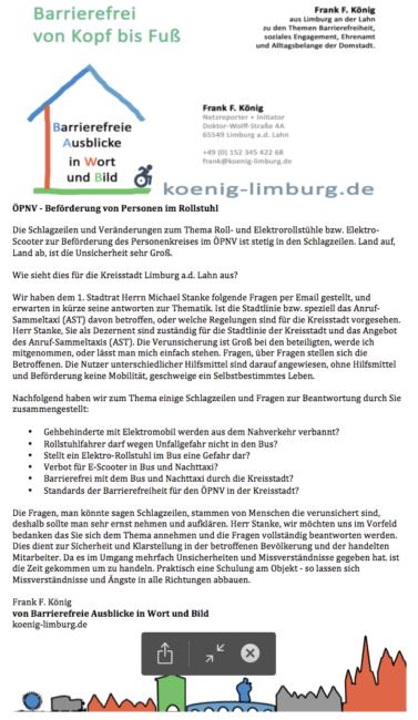 Brief an den 1. Stadtrat der Kreisstadt