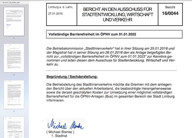 Bericht zum ÖPNV bis zum Jahr 2022