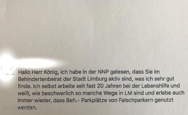 Anfragetext an den Behindertenbeirat Limburg