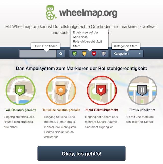 """Online-Karte """"Wheelmap.org"""" ein interaktiven Stadtplan"""
