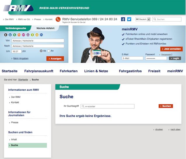Screenshot: RMV - Suche E-Scooter