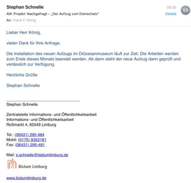 Antwort Herrn Schnelle