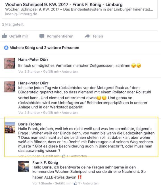 Frage von Boris Frohne auf Facebook