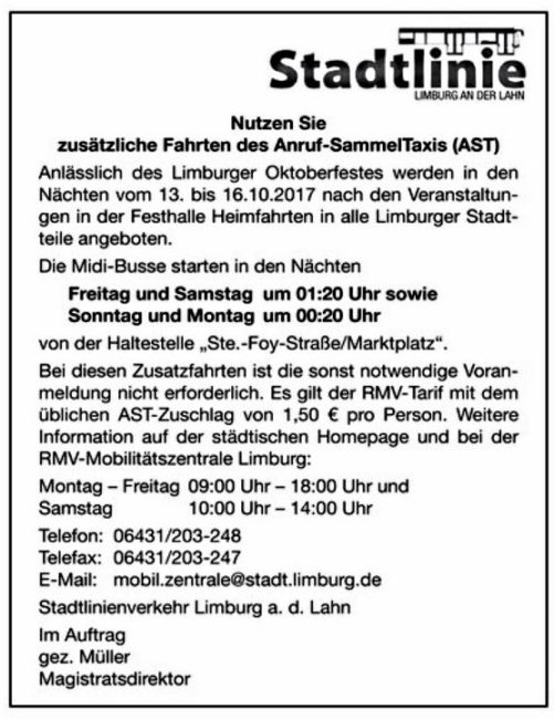 Stadtlinie - Anruf-Sammle-Taxi (AST)