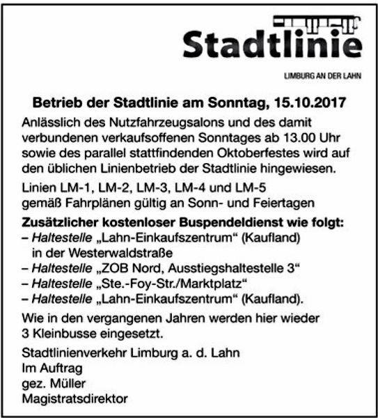 Information der Stadtlinie Limburg