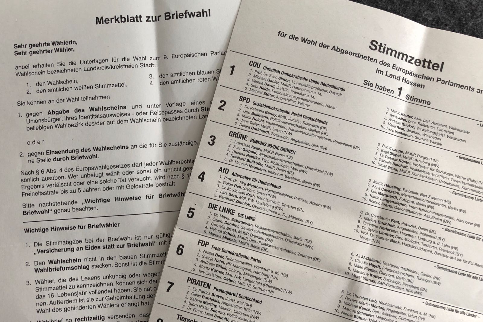 Stimmzettel zur EU-Wahl