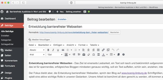 Entwicklung barrierefreier Webseiten