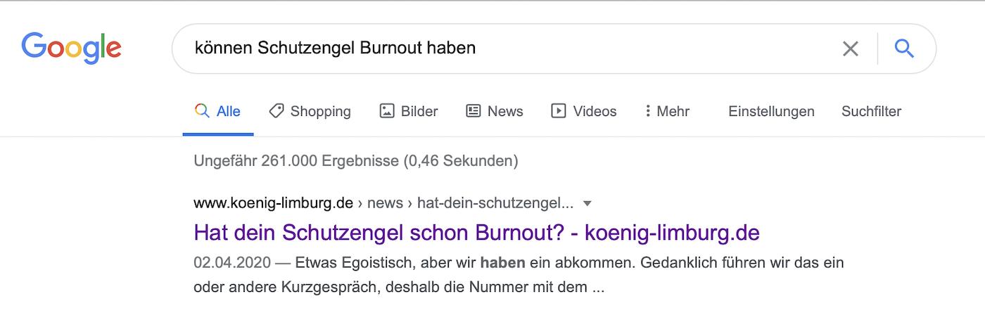 Screenshot von Google